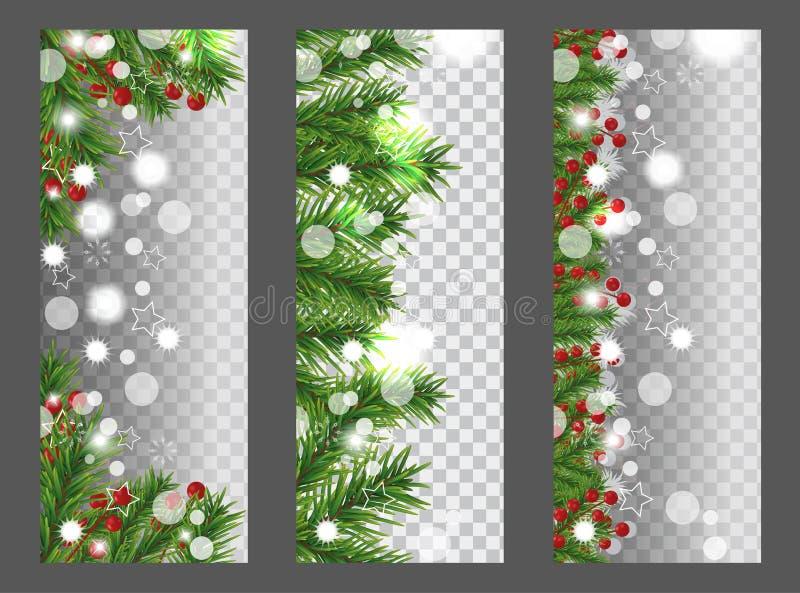 Bandera vertical de la Navidad de la colección y del Año Nuevo con la frontera o la guirnalda de las ramas de árbol de navidad y  libre illustration