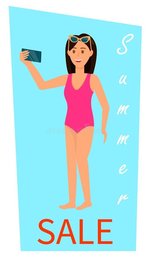 Bandera vertical de la venta del verano Mujer morena joven libre illustration