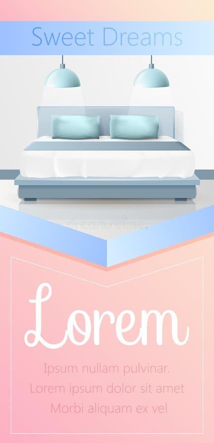 Bandera vertical de los sueños dulces, interior del dormitorio stock de ilustración