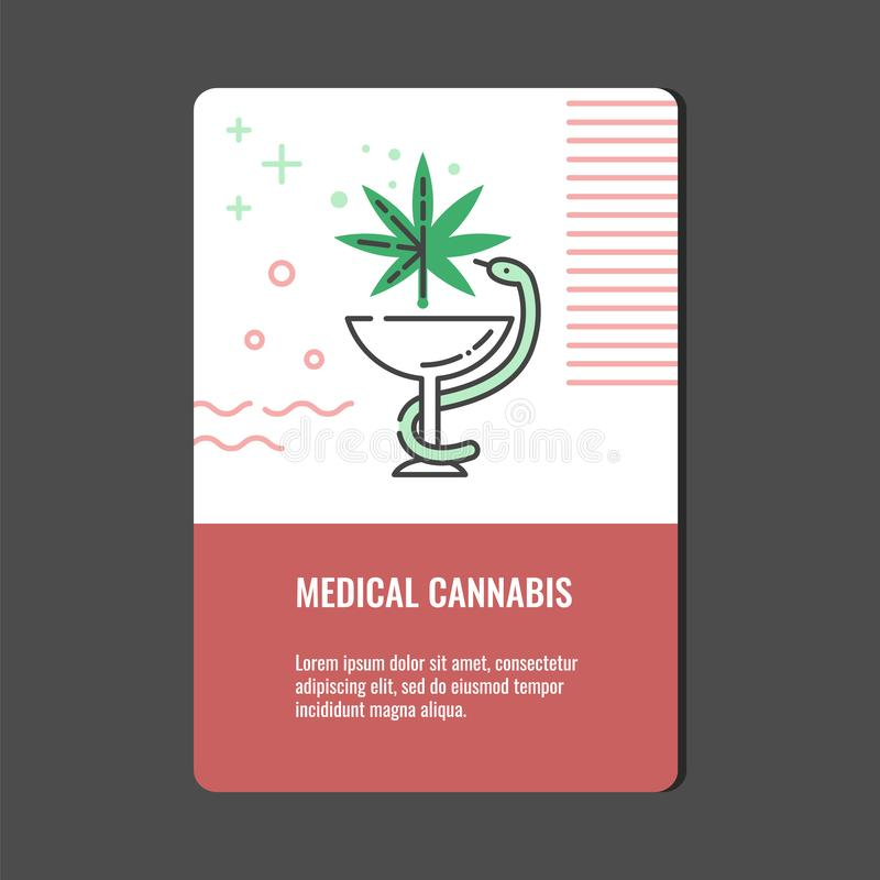 Bandera vertical del cáñamo médico con la línea icono de serpiente trenzado alrededor del cuenco con la hoja de la marijuana ilustración del vector