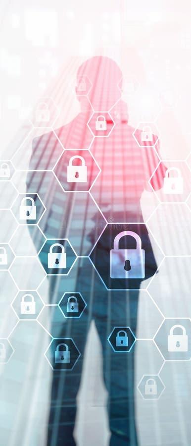 Bandera vertical del panorama Defensa de la privacidad de Cybersecurity, de la informaci?n, de la protecci?n de datos, del virus  fotografía de archivo libre de regalías