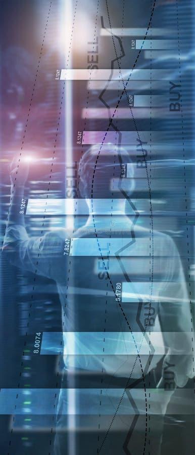 Bandera vertical del panorama Exposici?n doble de la compra y venta de acciones del gr?fico de carta del diagrama del negocio del stock de ilustración