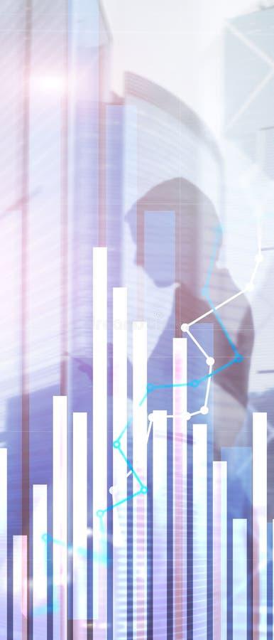 Bandera vertical del panorama Gr?fico financiero del crecimiento Ventas adentro pliegue, concepto de la estrategia de marketing fotos de archivo