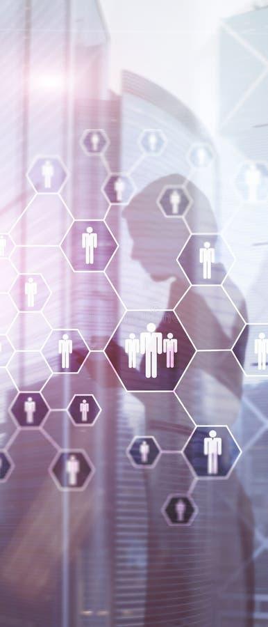 Bandera vertical del panorama Hora, estructura de los recursos humanos, del reclutamiento, de organizaci?n y concepto social de l stock de ilustración