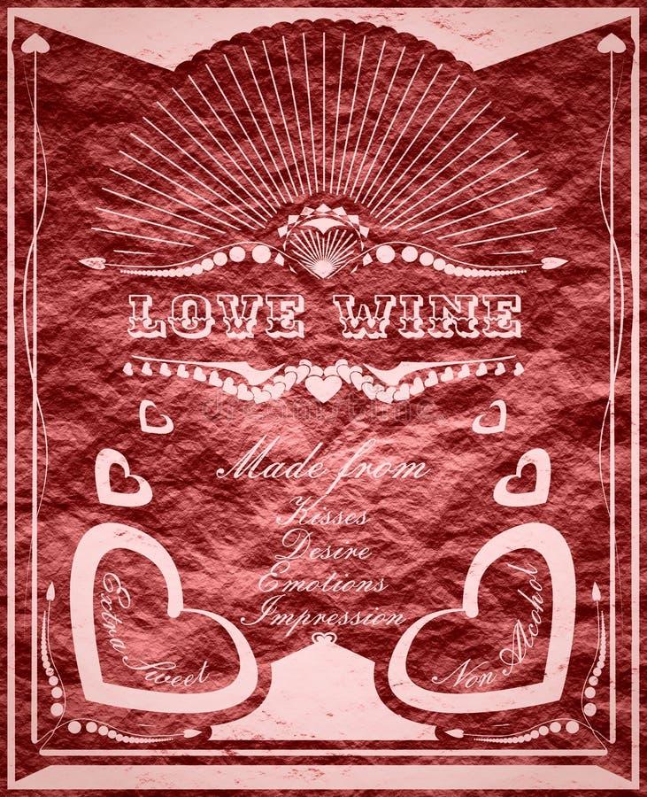 Bandera vertical del vintage con la etiqueta del vino del amor libre illustration