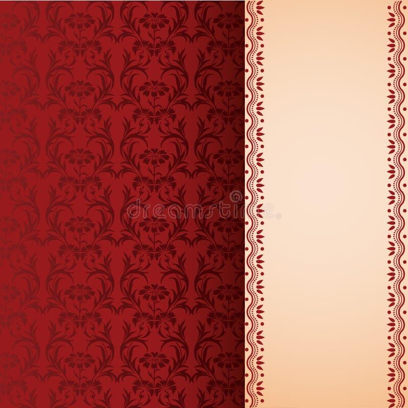 Bandera vertical floral oriental clásica roja libre illustration