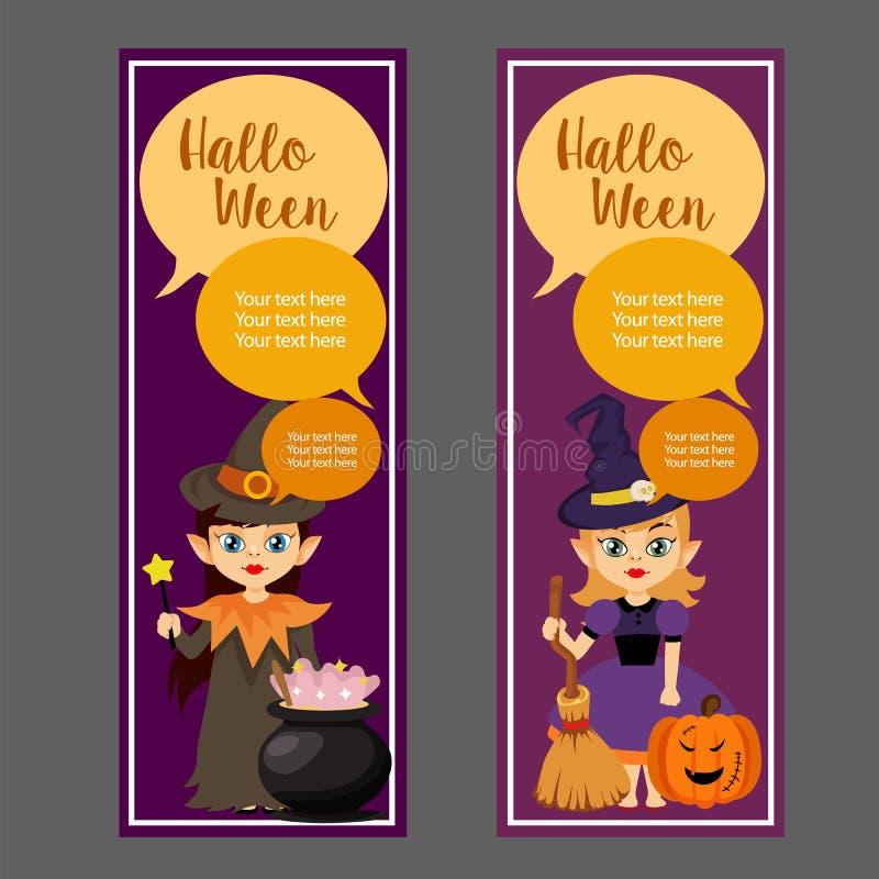 Bandera vertical linda de Halloween con el mago lindo ilustración del vector