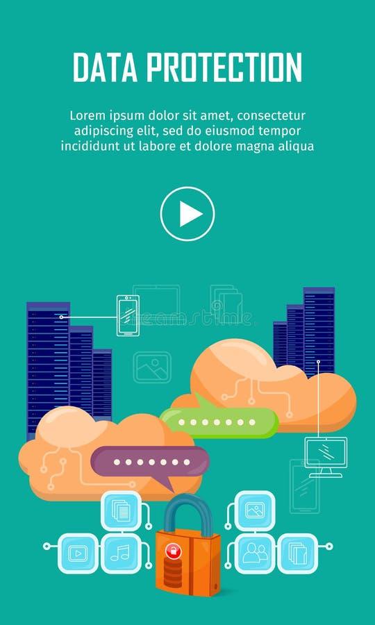 Bandera video del web de la protección de datos en estilo plano libre illustration