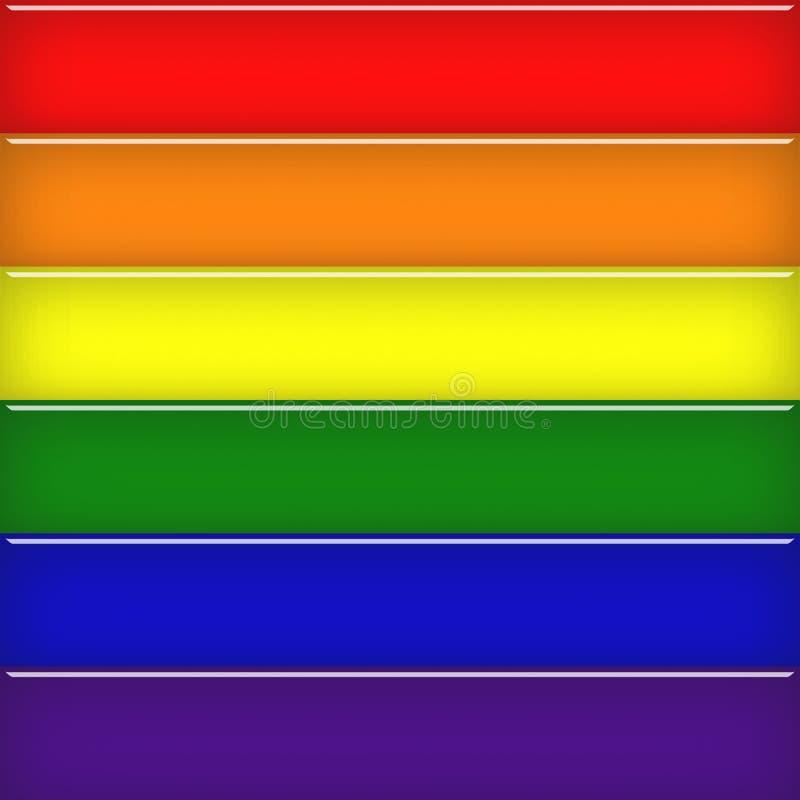 Bandera vidriosa del arco iris imagenes de archivo