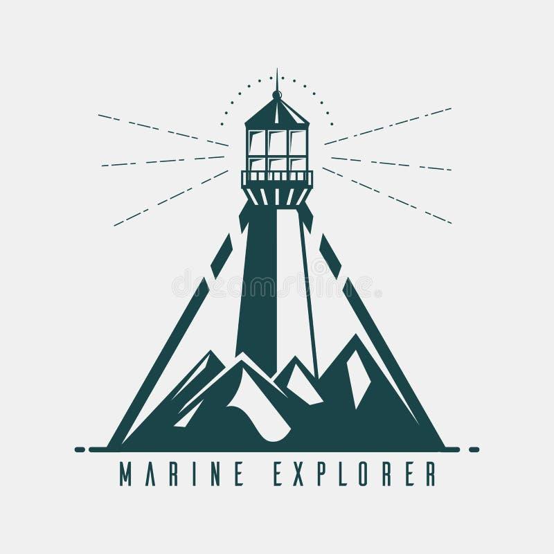 Bandera vieja con el faro en montañas ilustración del vector