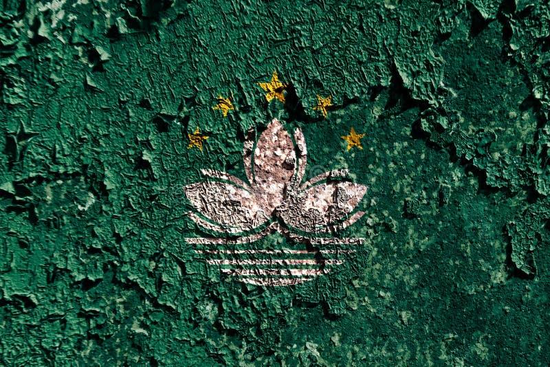 Bandera vieja del fondo de Macao del grunge ilustración del vector