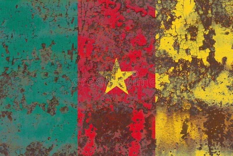 Bandera vieja del fondo del grunge del Camerún imagen de archivo libre de regalías