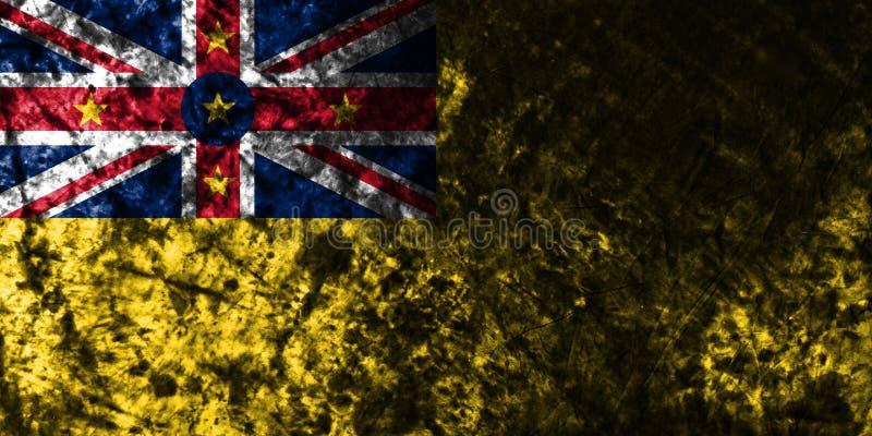 Bandera vieja del grunge de Niue, nueva bandera dependiente del territorio de Zaeland ilustración del vector