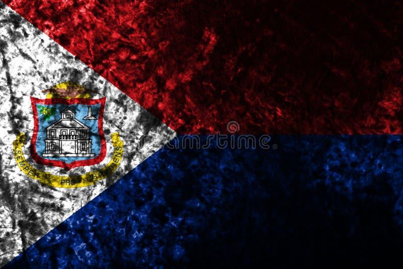 Bandera vieja del grunge de Sint Maarten, bandera dependiente holandesa del territorio ilustración del vector