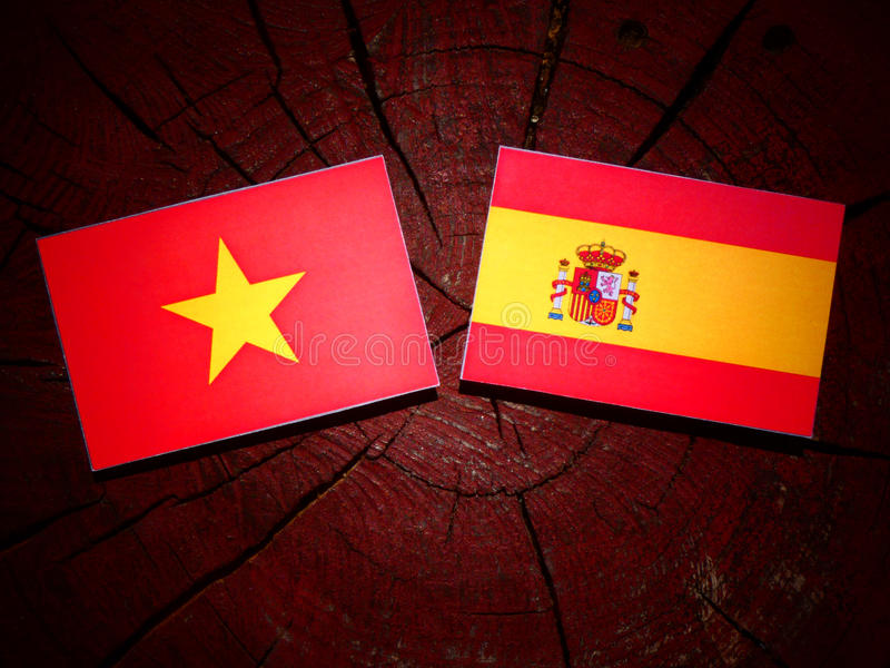 Bandera vietnamita con la bandera española en un tocón de árbol fotos de archivo libres de regalías