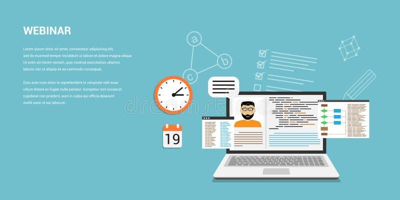 Bandera webinar en línea del concepto ilustración del vector