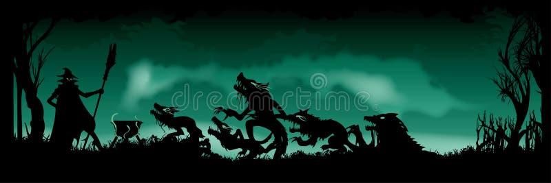 Bandera Witching de Halloween ilustración del vector