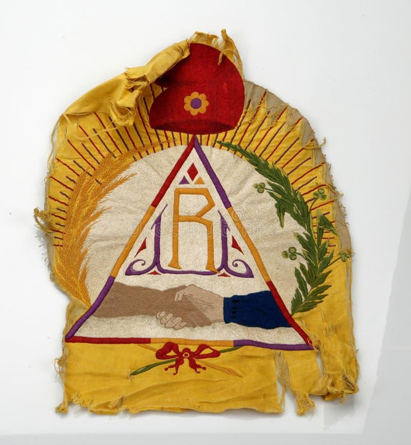Bandera y albañilería republicanas del catalán Guerra civil española foto de archivo libre de regalías