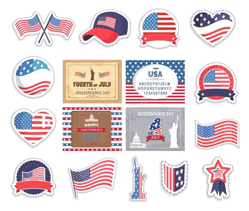 Bandera y casquillos los E.E.U.U. vieja Glory Stickers Set Vector libre illustration