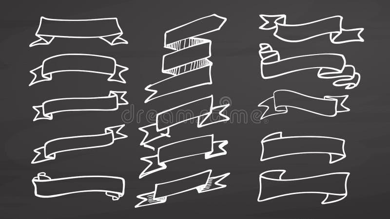 Bandera y cintas blancas en la pizarra ilustración del vector