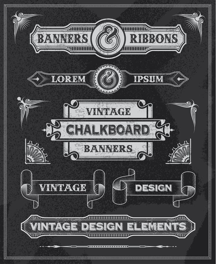 Bandera y cintas del vintage de la pizarra ilustración del vector
