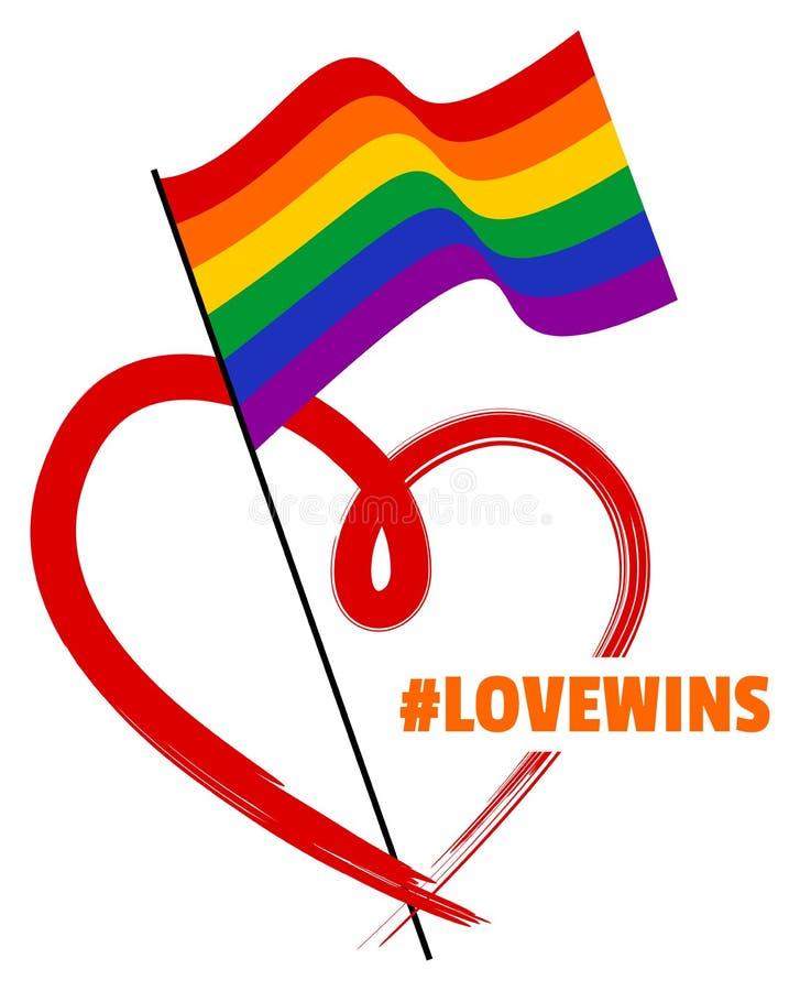 Bandera y corazón del arco iris de LGBT stock de ilustración