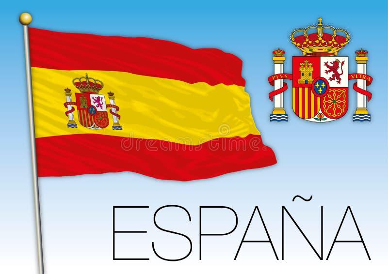 Bandera y escudo de armas de España stock de ilustración