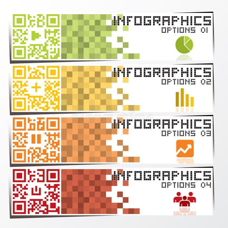 Bandera y fondo de Infographics del negocio del código de QR ilustración del vector