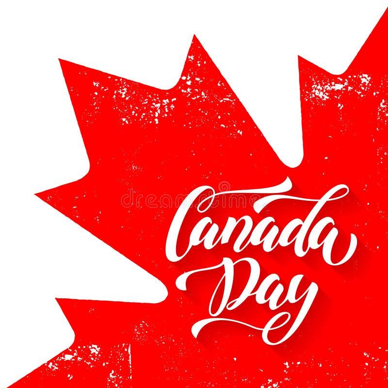 Bandera y hoja canadienses Tarjeta de felicitación del día de Canadá ilustración del vector