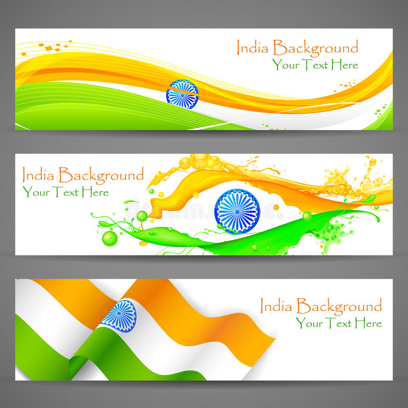 Bandera y jefe para la celebración de la India ilustración del vector