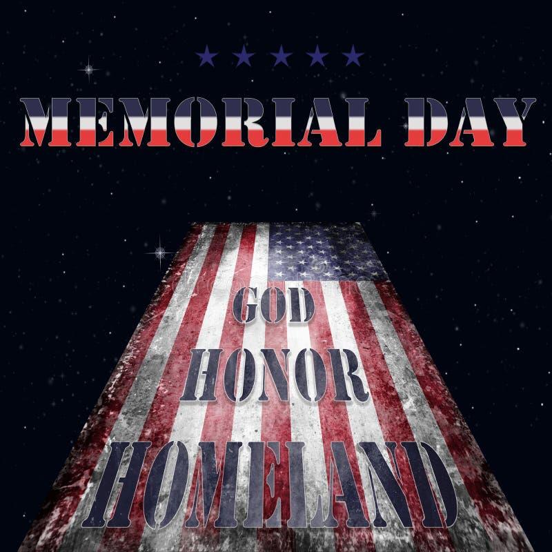 Bandera y letras 15 de Memorial Day ilustración del vector