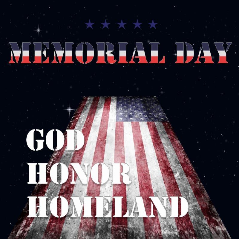 Bandera y letras 13 de Memorial Day stock de ilustración