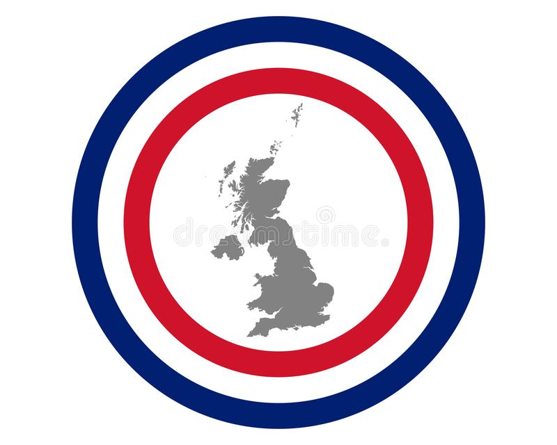 Bandera y mapa británicos stock de ilustración