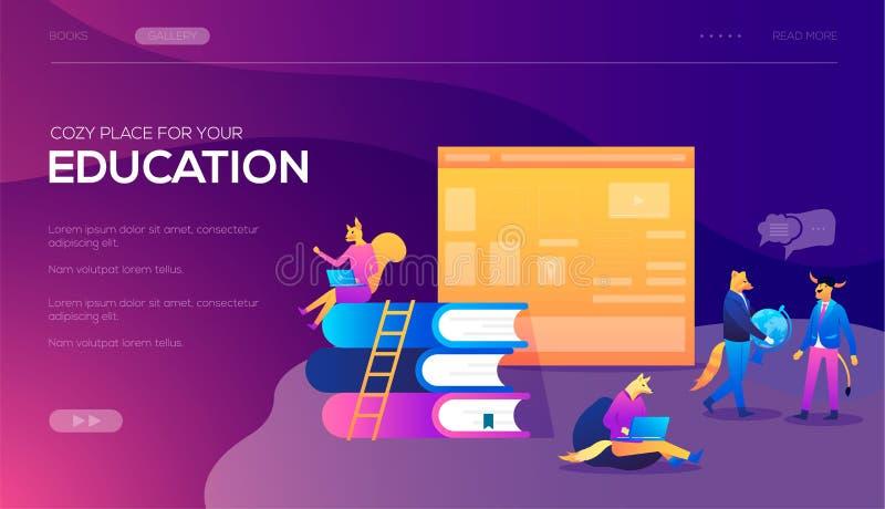 Bandera y página web Plantilla de aterrizaje de la página Los cursos de aprendizaje en línea, especialización, universidad estudi ilustración del vector