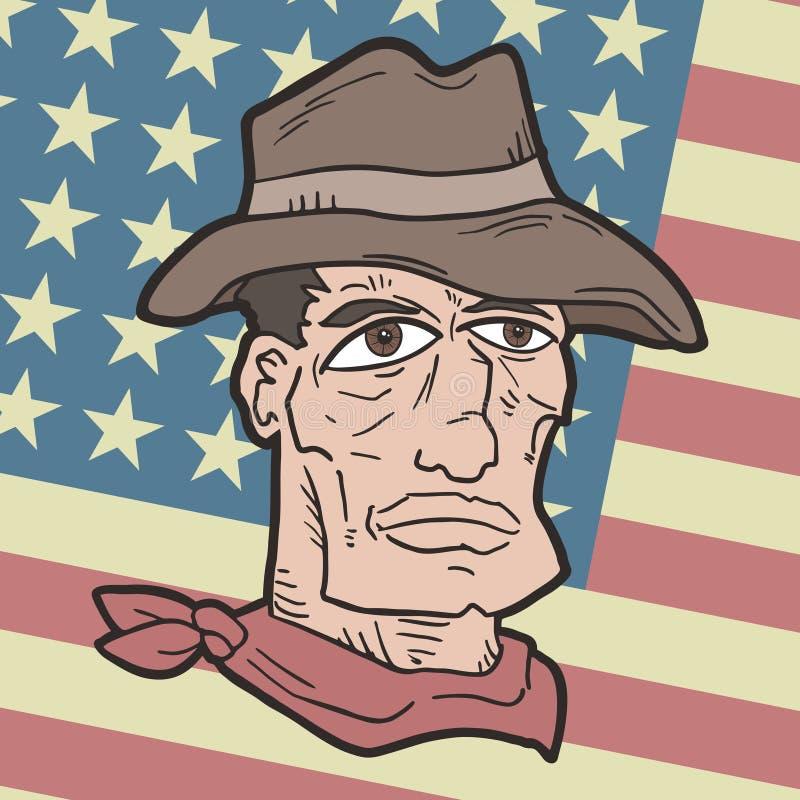 Bandera y pistolero stock de ilustración