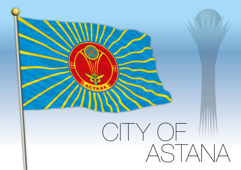 Bandera y símbolos, Kazajistán de la ciudad de Astaná libre illustration