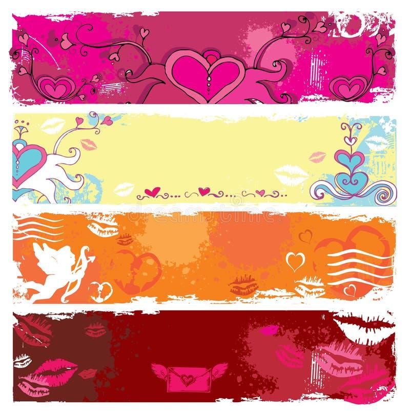 Banderas 2 del grunge del día de tarjeta del día de San Valentín stock de ilustración