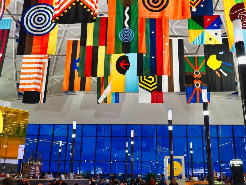 Banderas abor?genes del adorno, Sydney Airport, Australia fotografía de archivo libre de regalías