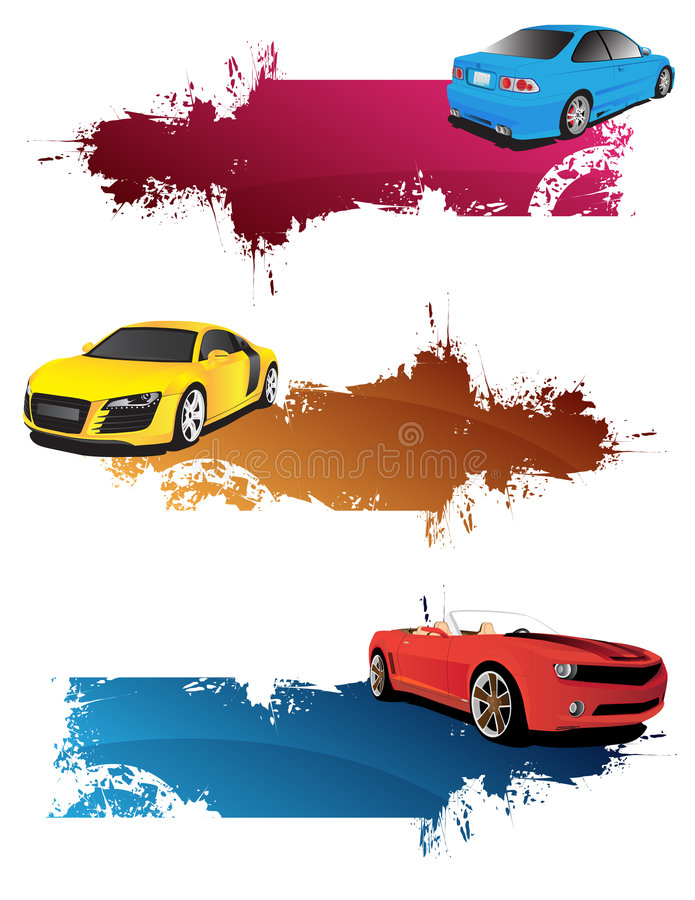 Banderas abstractas con los coches ilustración del vector