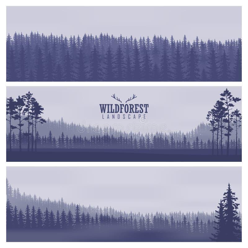 Banderas abstractas horizontales de colinas de la madera conífera en tono azul marino stock de ilustración