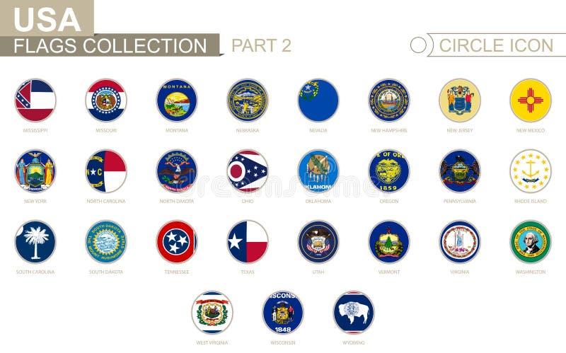 Banderas alfabéticamente clasificadas del círculo de los estados de los E.E.U.U. Sistema de banderas redondas ilustración del vector