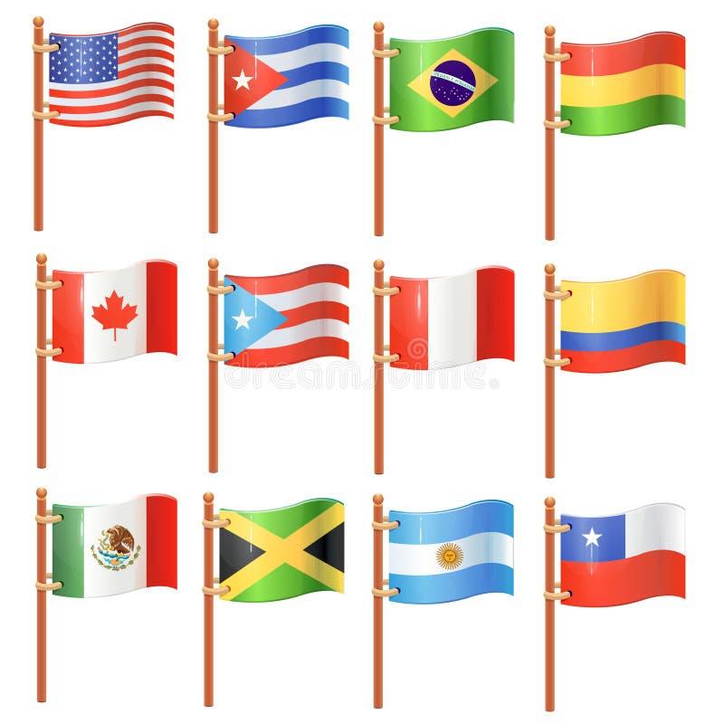 Banderas americanas ilustración del vector