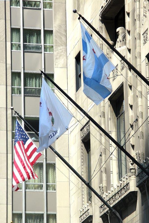 Banderas americanas y locales del estado fotos de archivo libres de regalías
