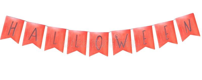 Banderas anaranjadas de la tarjeta de felicitación de la composición de Halloween de la acuarela con las letras en una secuencia ilustración del vector