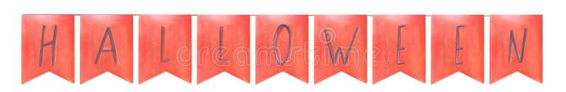 Banderas anaranjadas de la tarjeta de felicitación de la composición de Halloween de la acuarela con las letras en una secuencia stock de ilustración