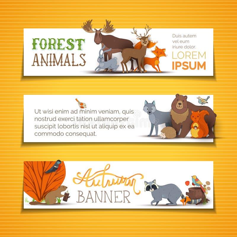 Banderas animales horizontales del vector fijadas libre illustration