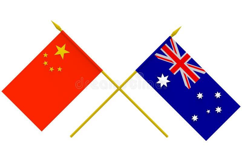 Banderas, Australia y China ilustración del vector