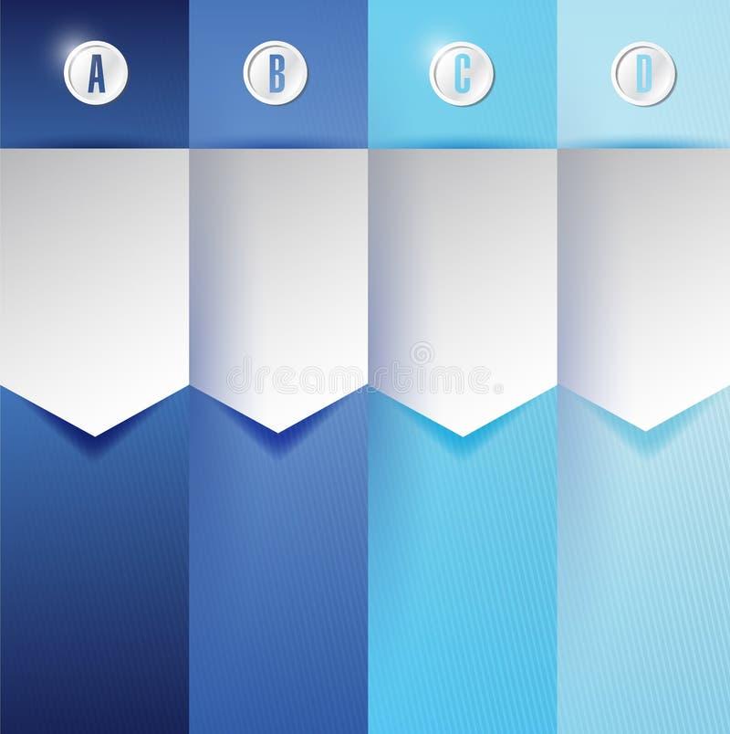 Banderas azules adaptables Infographics de la textura ilustración del vector