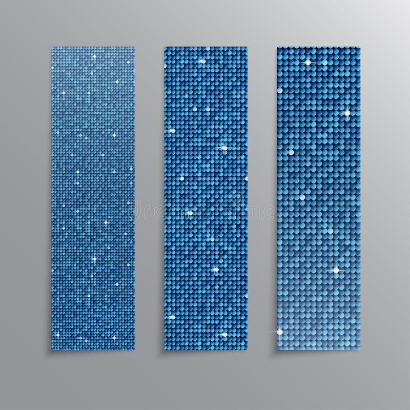 Banderas azules determinadas de las lentejuelas de la vertical brillo libre illustration