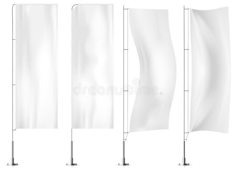 Banderas blancas de la bandera de la materia textil Sistema de las maquetas de la bandera de la bandera Sistema de vect stock de ilustración